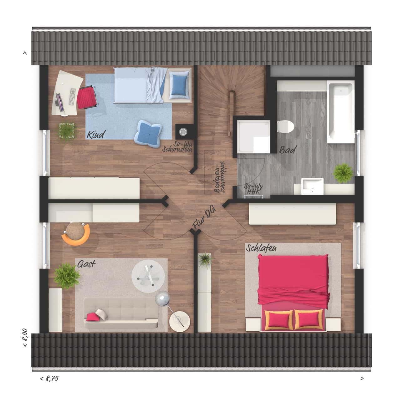Grundriss Einfamilienhaus Obergeschoss mit Satteldach - Massivhaus Raumwunder 100 Süd von Town & Country Haus - HausbauDirekt.de