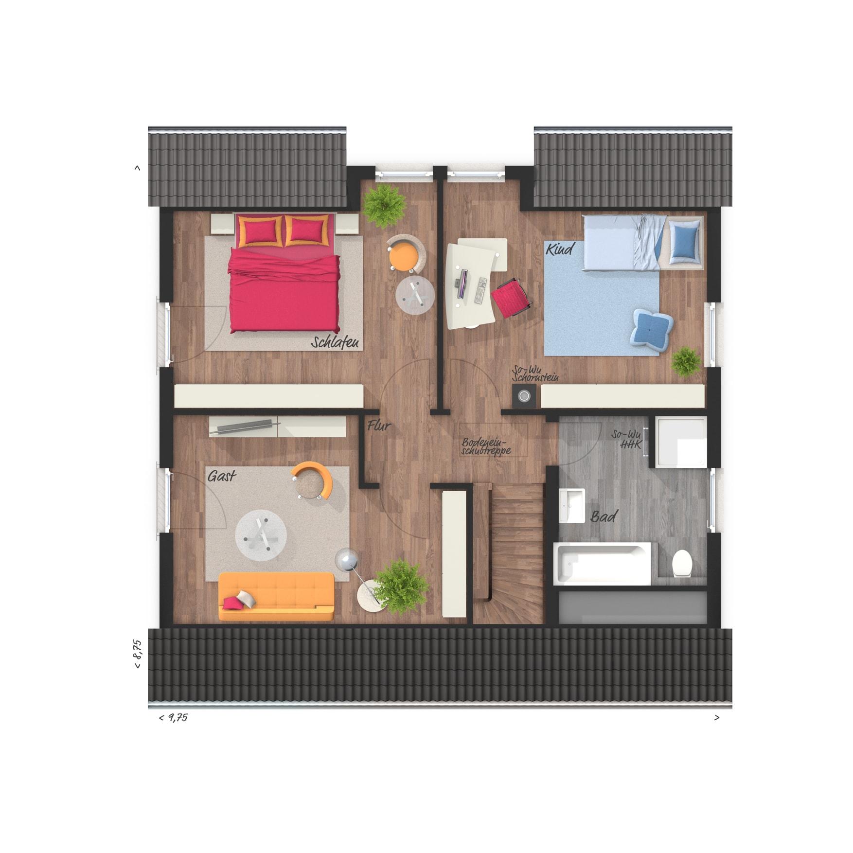 Grundriss Einfamilienhaus Dachgeschoss - Town Country Haus Flair 125 - HausbauDirekt.de