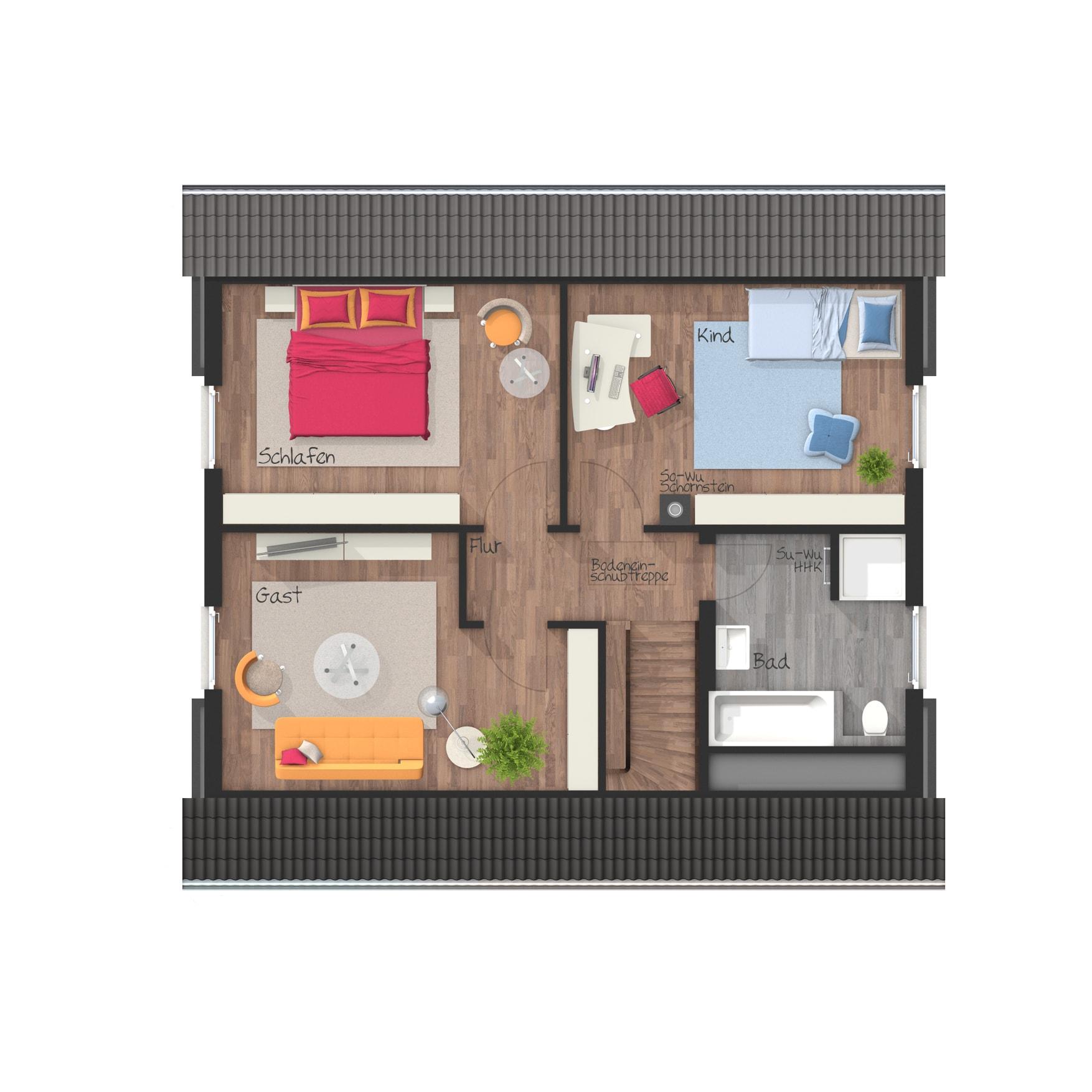 Grundriss Einfamilienhaus Obergeschoss mit Satteldach, 5 Zimmer, 120 qm - Massivhaus schlüsselfertig bauen Ideen Town Country Haus Flair 130 Klinker - HausbauDirekt.de
