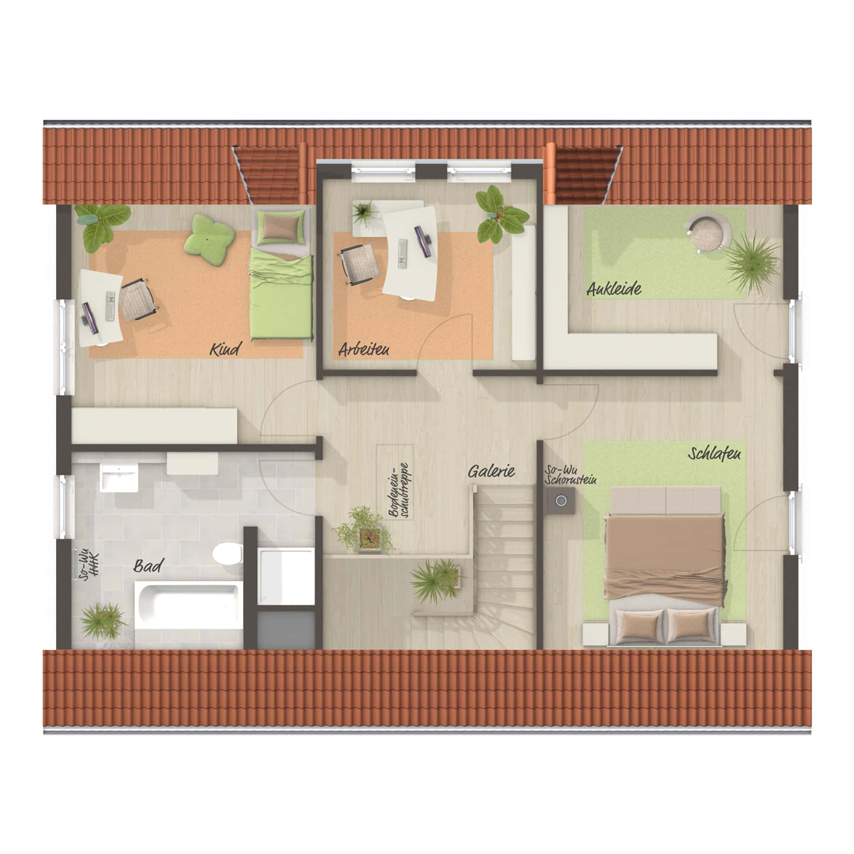 Grundriss Einfamilienhaus Obergeschoss mit Satteldach, 5 Zimmer, 145 qm - Town Country Haus Massivhaus Landhaus 142 - HausbauDirekt.de