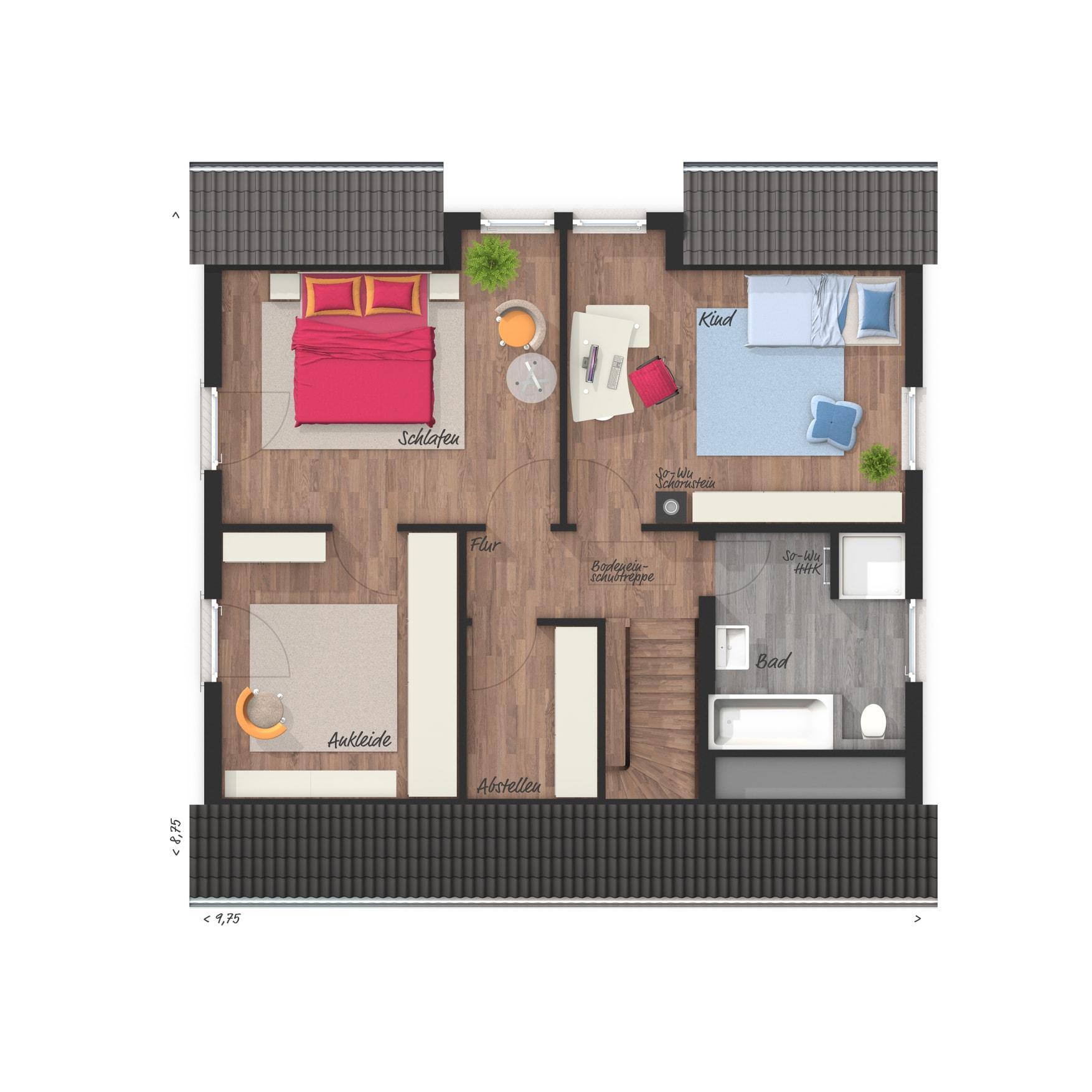 Grundriss Einfamilienhaus Dachgeschoss, Schlafzimmer mit Ankleide - Town Country Haus Flair 125 - HausbauDirekt.de
