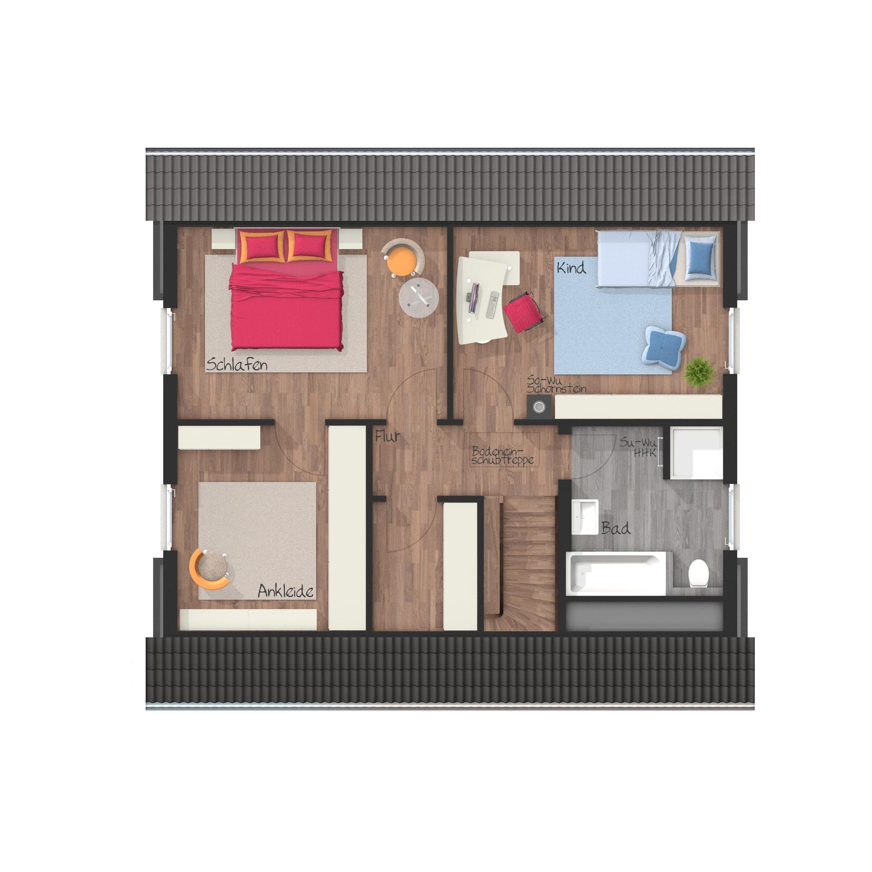 Grundriss Einfamilienhaus Obergeschoss mit Satteldach, 4 Zimmer, 120 qm - Massivhaus schlüsselfertig bauen Ideen Town Country Haus Flair 130 Klinker - HausbauDirekt.de