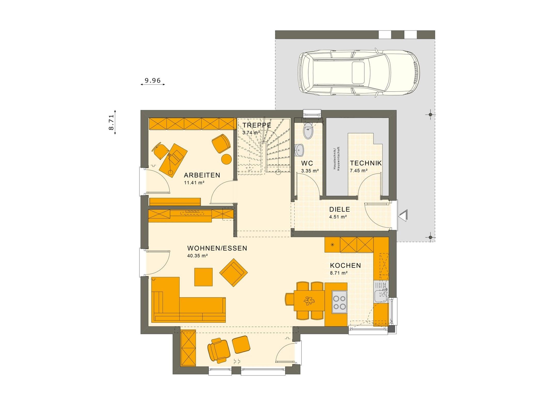 Einfamilienhaus Grundriss Erdgeschoss mit Carport & Erker, 5 Zimmer, 145 qm - Living Haus Fertighaus SUNSHINE 143 V5 - HausbauDirekt.de