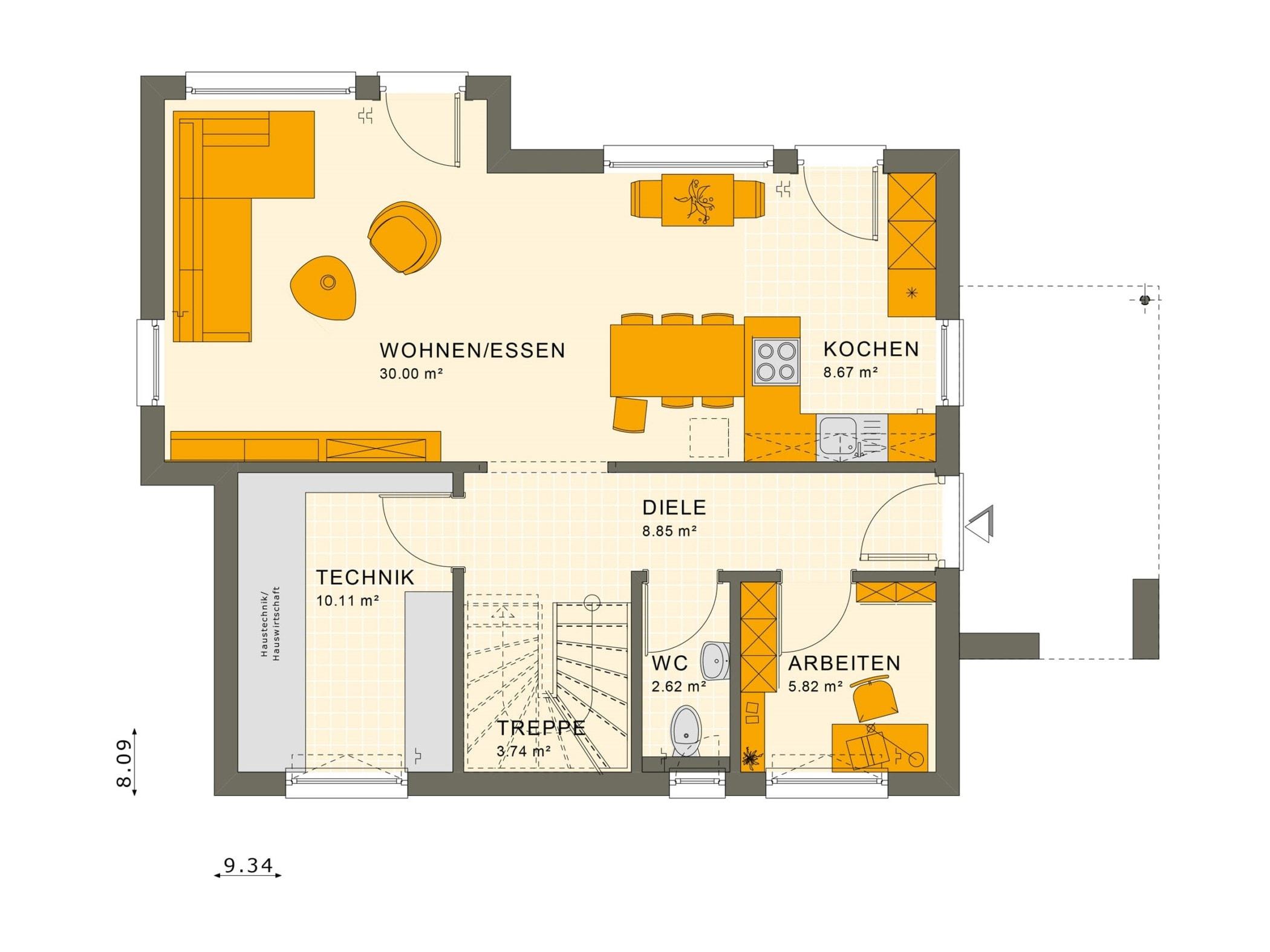 Grundriss Einfamilienhaus Erdgeschoss offen mit Erker - Fertighaus Living Haus SUNSHINE 125 V5 - HausbauDirekt.de