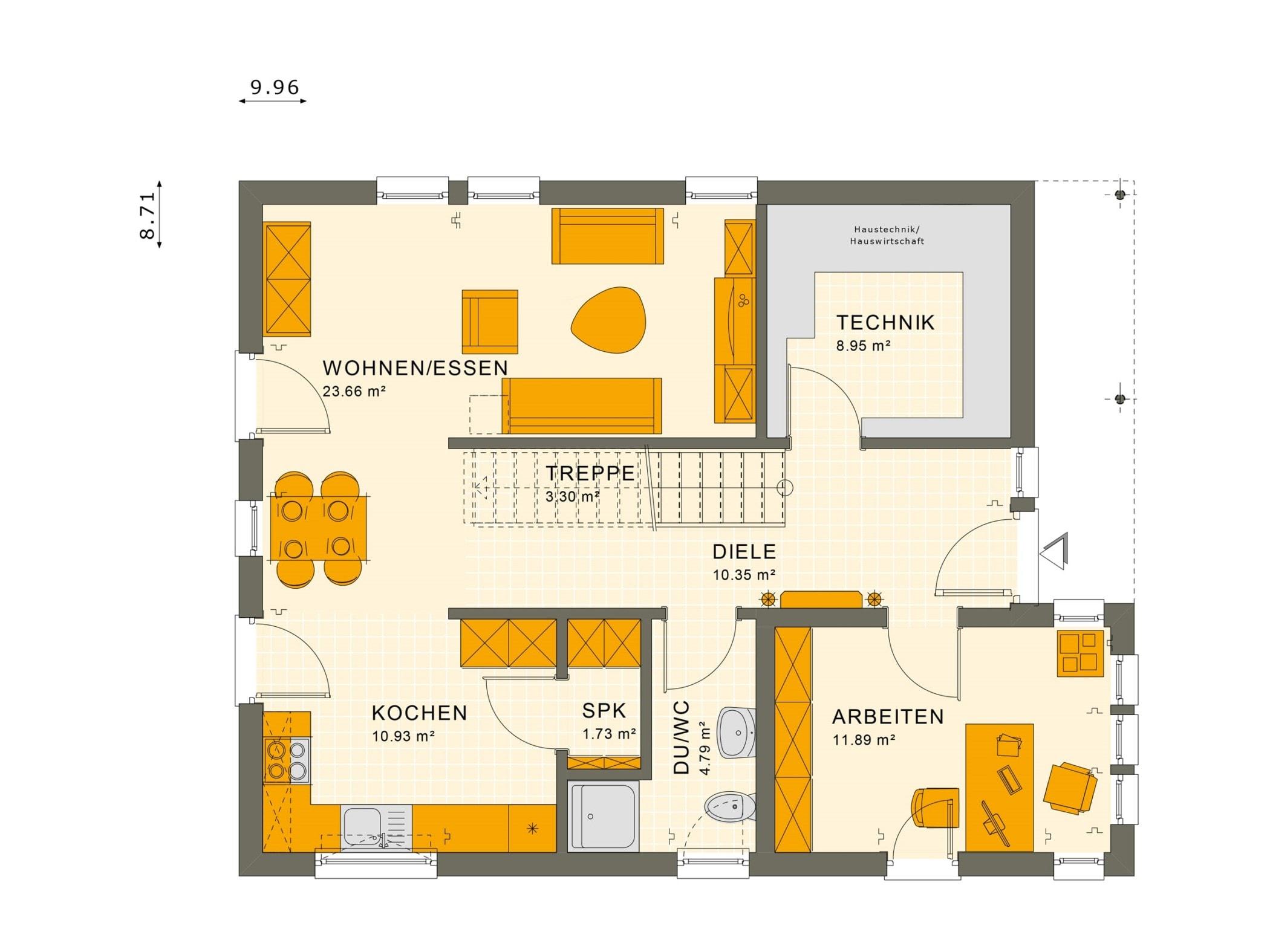 Grundriss Einfamilienhaus Erdgeschoss gerade Treppe, 5 Zimmer, 140 qm - Fertighaus Living Haus SUNSHINE 144 V2 - HausbauDirekt.de