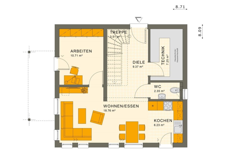 Grundriss Einfamilienhaus Erdgeschoss offen, 114 qm, 5 Zimmer - Haus bauen Ideen Fertighaus SUNSHINE 113 V4 von Living Haus - HausbauDirekt.de
