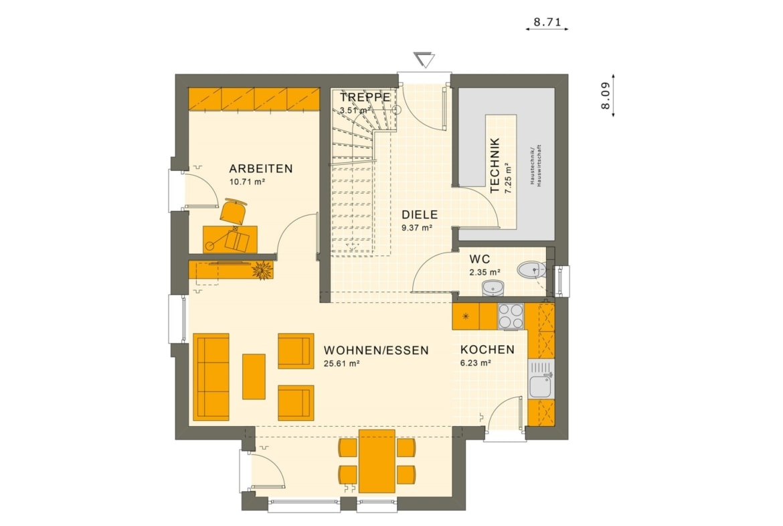 Grundriss Einfamilienhaus Erdgeschoss quadratisch mit Erker & Küche offen - Haus bauen Ideen Fertighaus SUNSHINE 113 V5 von Living Haus - HausbauDirekt.de