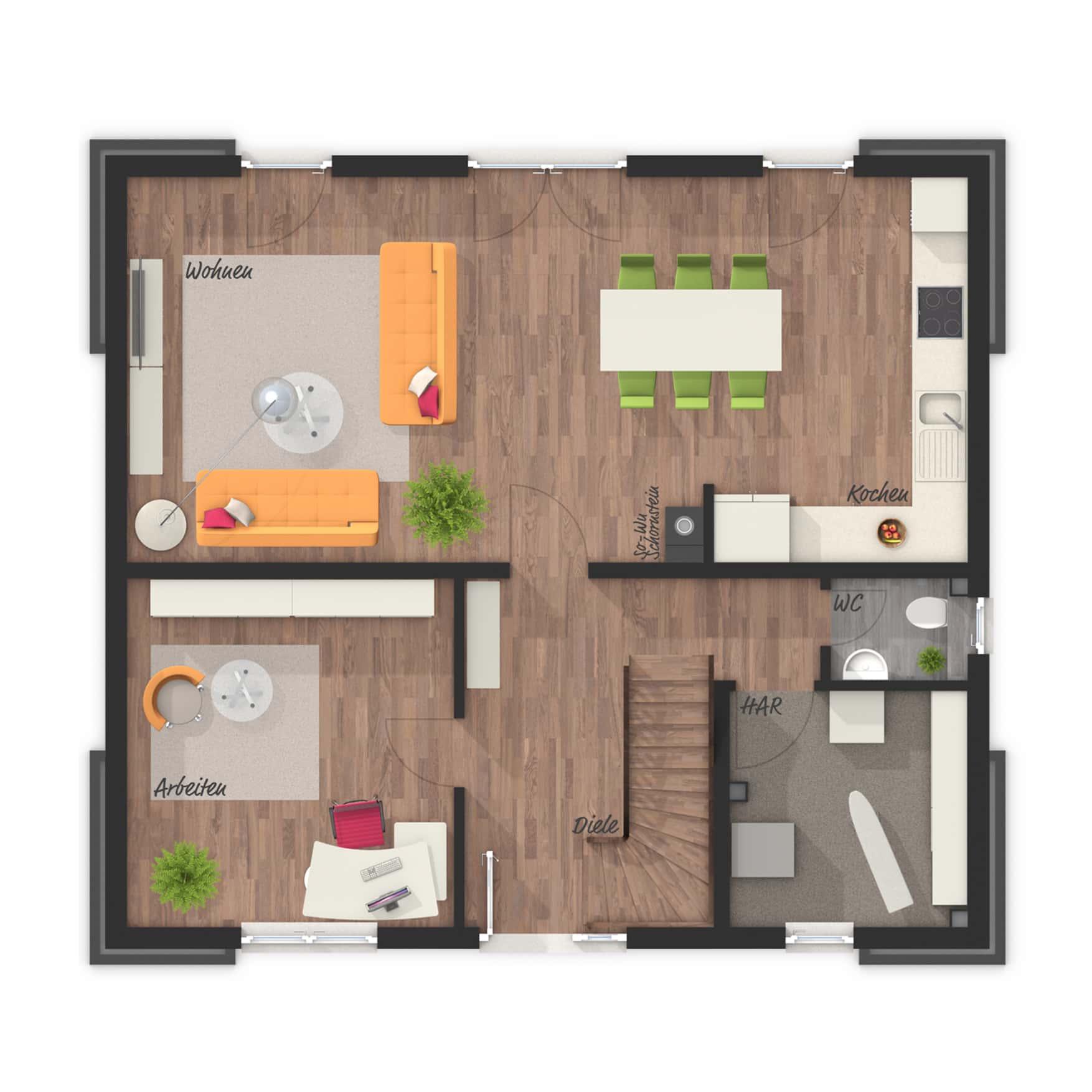 Grundriss Einfamilienhaus Erdgeschoss Küche offen, 5 Zimmer, 120 qm - Massivhaus schlüsselfertig bauen Ideen Town Country Haus Flair 130 Klinker - HausbauDirekt.de