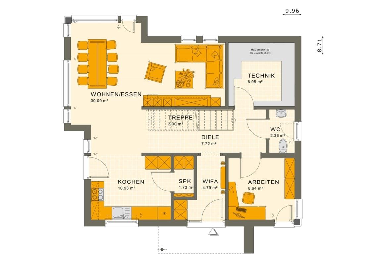 Grundriss Einfamilienhaus Erdgeschoss Treppe gerade, 5 Zimmer Grundriss, 140 qm - Living Haus Fertighaus SUNSHINE 144 V4 - HausbauDirekt.de