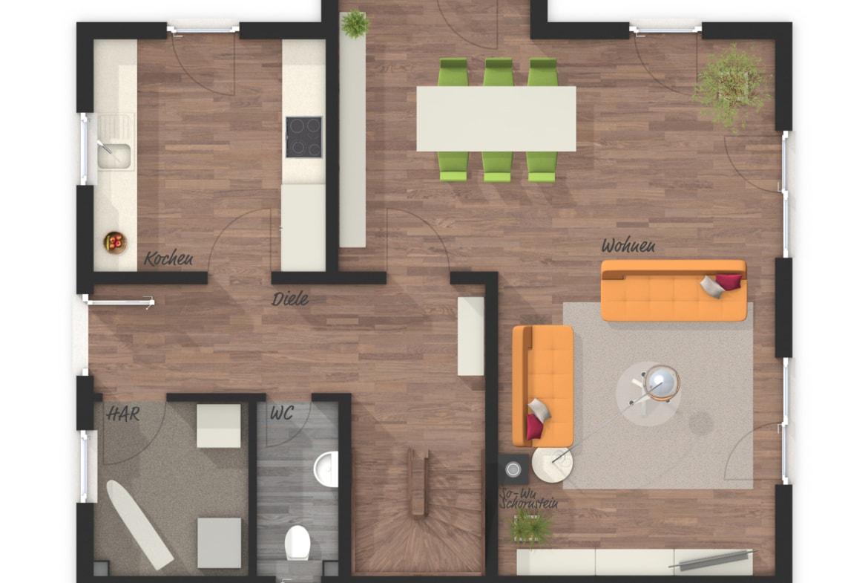 Grundriss Einfamilienhaus Erdgeschoss mit Erker, Küche separat, 120 qm, 4 Zimmer - Massivhaus schlüsselfertig bauen Ideen Lichthaus 121 Style von Town Country Haus - HausbauDirekt.de