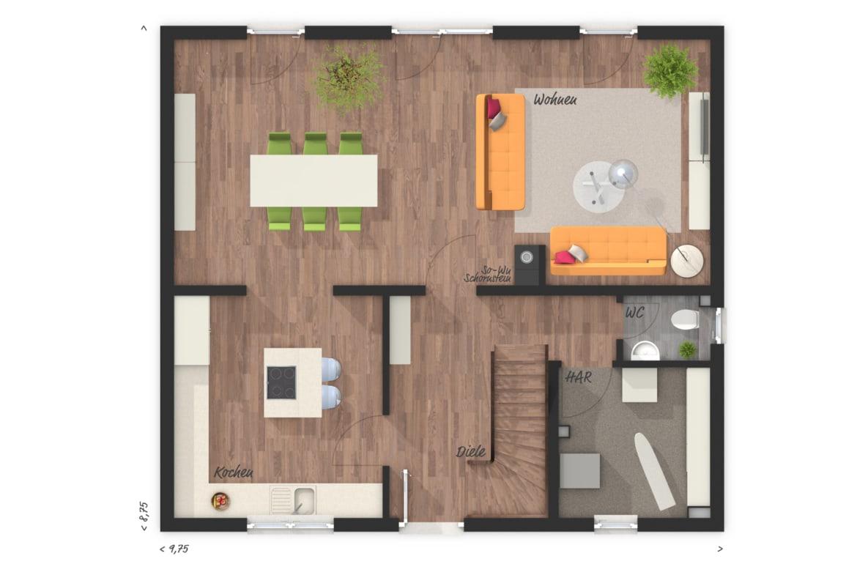 Grundriss Einfamilienhaus Erdgeschoss - Town Country Haus Flair 125 - HausbauDirekt.de