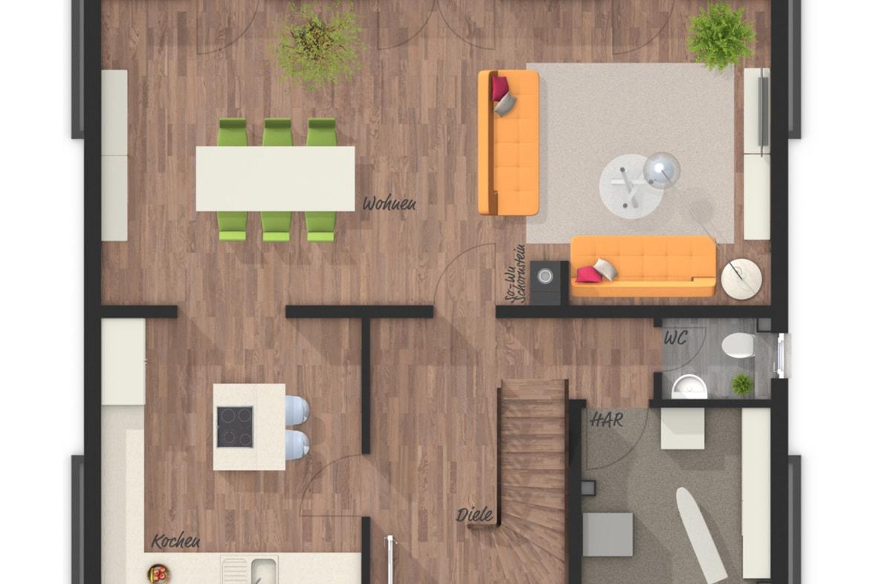 Grundriss Einfamilienhaus Erdgeschoss, 5 Zimmer, 120 qm - Massivhaus schlüsselfertig bauen Ideen Town Country Haus Flair 130 Klinker - HausbauDirekt.de