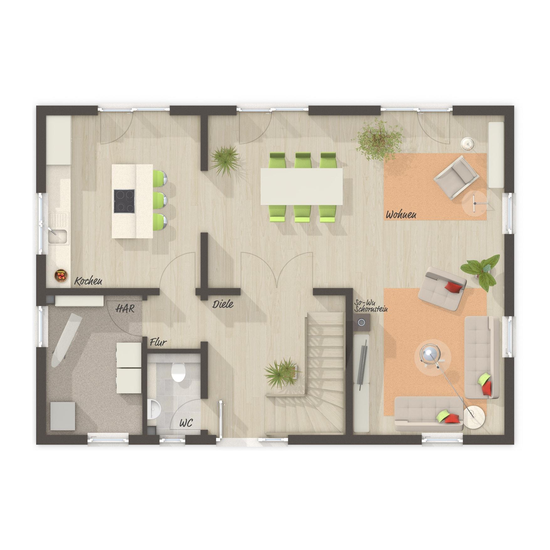 Grundriss Einfamilienhaus Erdgeschoss rechteckig, 5 Zimmer, 145 qm - Town Country Haus Massivhaus Landhaus 142 - HausbauDirekt.de