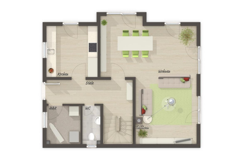 Einfamilienhaus Grundriss Erdgeschoss, 4 Zimmer, 120 qm - Massivhaus bauen Ideen Town Country Haus Lichthaus 121 Trend - HausbauDirekt.de