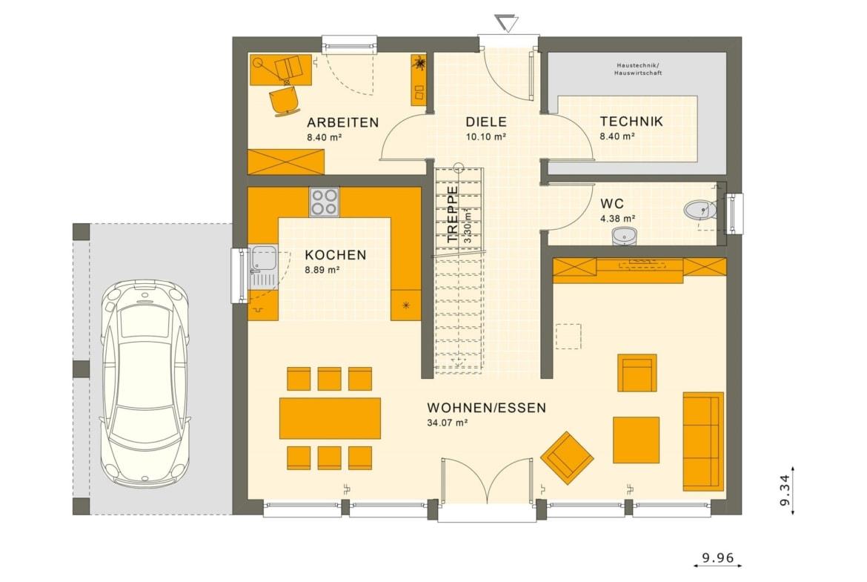 Grundriss Einfamilienhaus Erdgeschoss Treppe gerade & Carport, 5 Zimmer, 154 qm - Living Haus Fertighaus SUNSHINE 154 V7 - HausbauDirekt.de