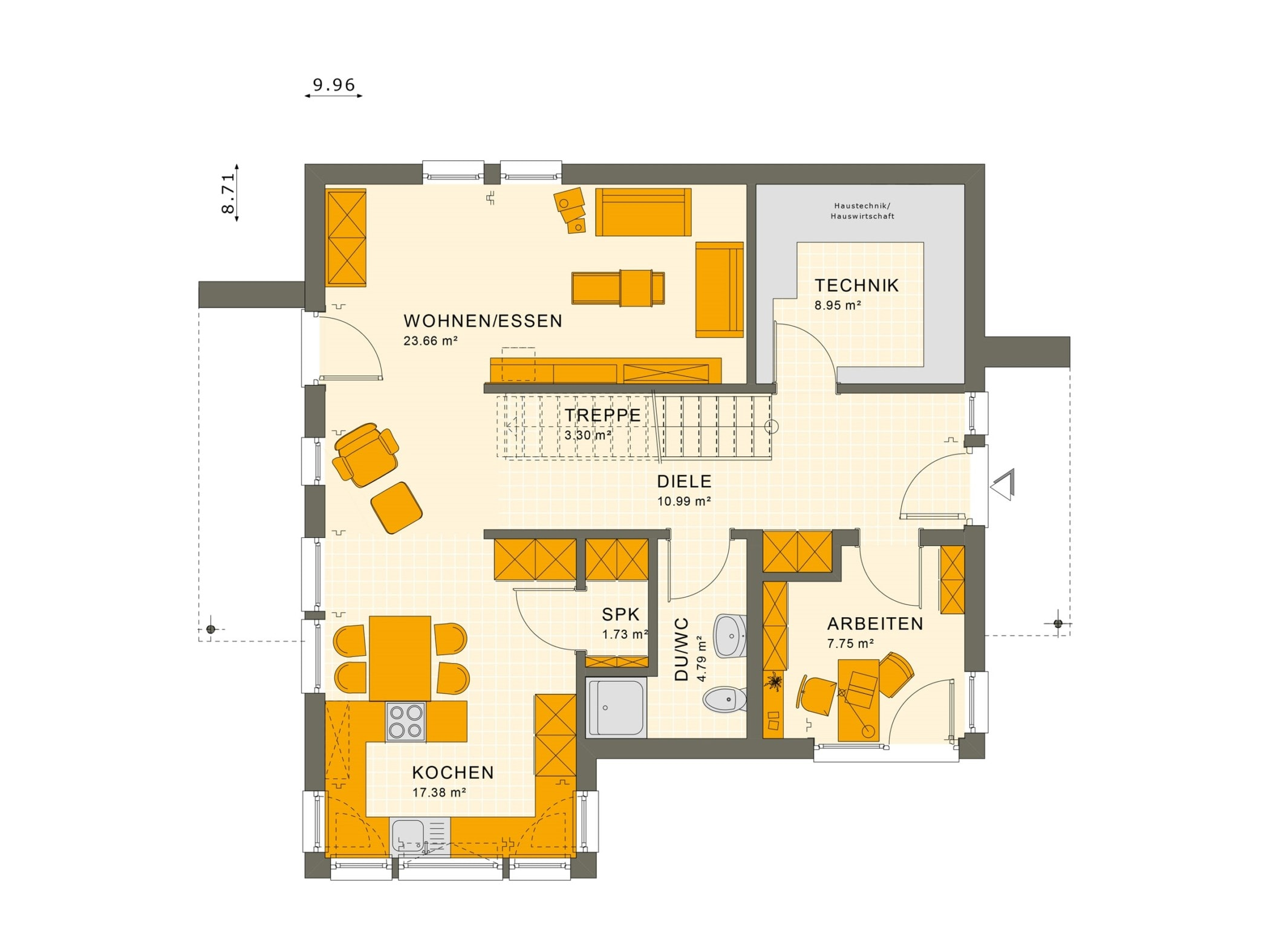 Grundriss Einfamilienhaus Erdgeschoss offen, gerade Treppe mittig - Fertighaus SUNSHINE 144 V5 von Living Haus - HausbauDirekt.de