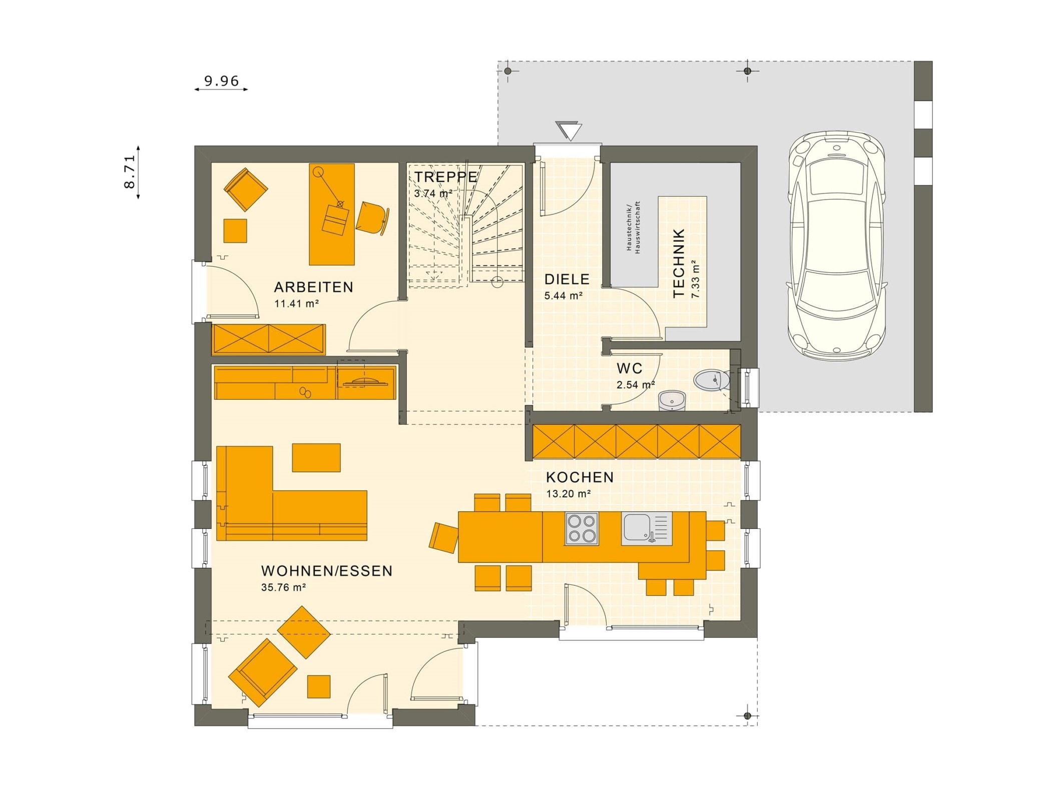 Grundriss Einfamilienhaus Erdgeschoss mit Carport & Erker, 5 Zimmer, 145 qm - Fertighaus bauen Ideen Living Haus SUNSHINE 143 V7 - HausbauDirekt.de