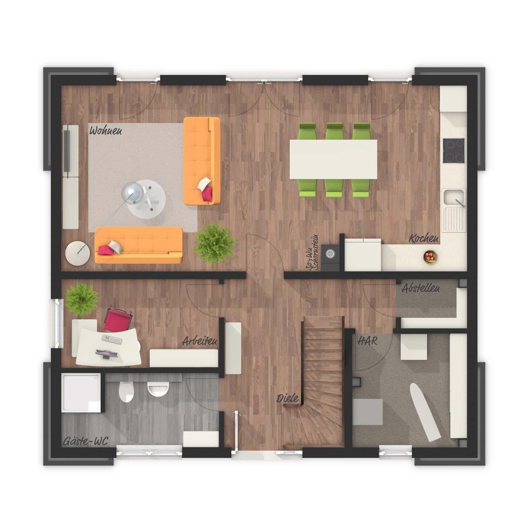 Grundriss Einfamilienhaus Erdgeschoss mit Gäste Bad & Büro, 5 Zimmer, 120 qm - Massivhaus schlüsselfertig bauen Ideen Town Country Haus Flair 130 Klinker - HausbauDirekt.de