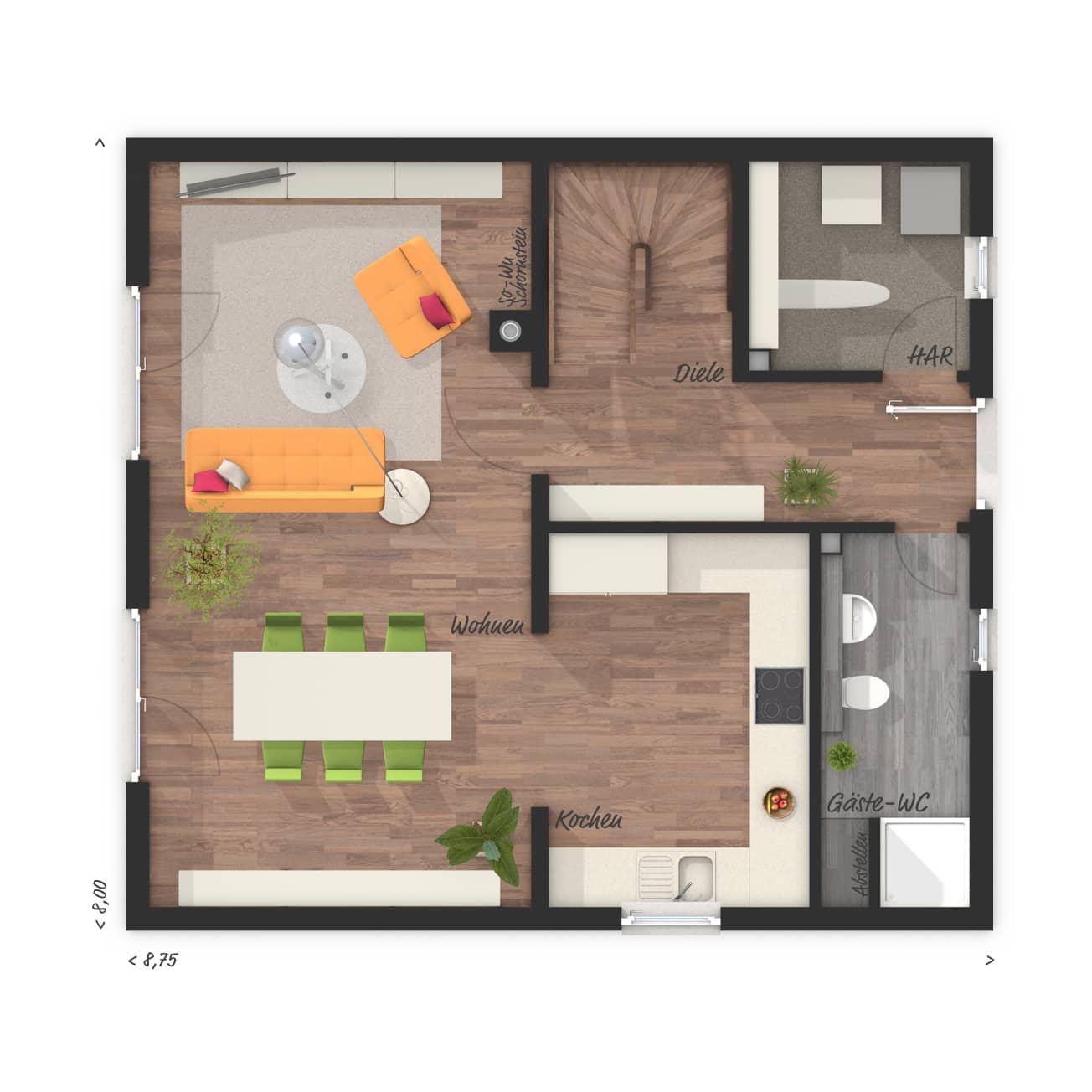 Grundriss Einfamilienhaus Erdgeschoss mit Gästebad - Massivhaus Raumwunder 100 Süd von Town & Country Haus - HausbauDirekt.de