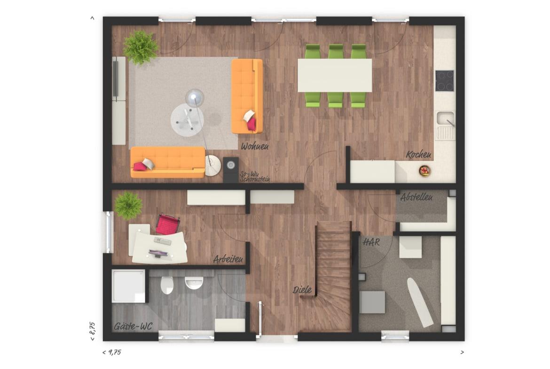 Grundriss Einfamilienhaus Erdgeschoss mit Büro und Gästebad - Town Country Haus Flair 125 - HausbauDirekt.de