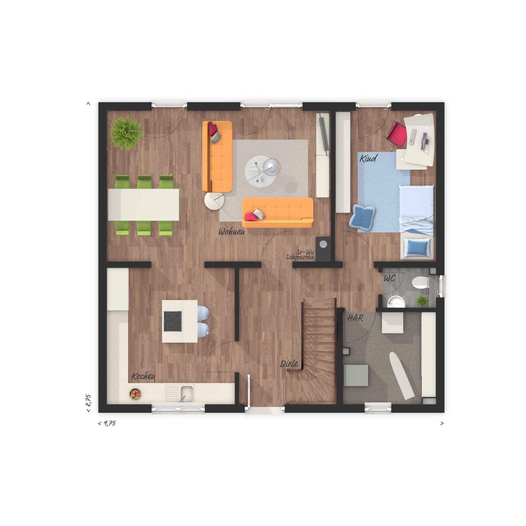 Grundriss Einfamilienhaus Erdgeschoss mit Kinderzimmer - Town Country Haus Flair 125 - HausbauDirekt.de