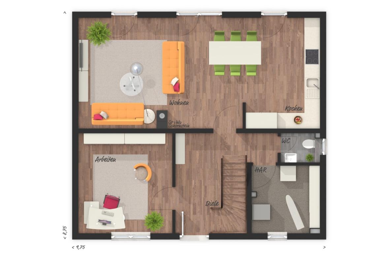Grundriss Einfamilienhaus Erdgeschoss Küche offen mit Arbeitszimmer - Town Country Haus Flair 125 - HausbauDirekt.de