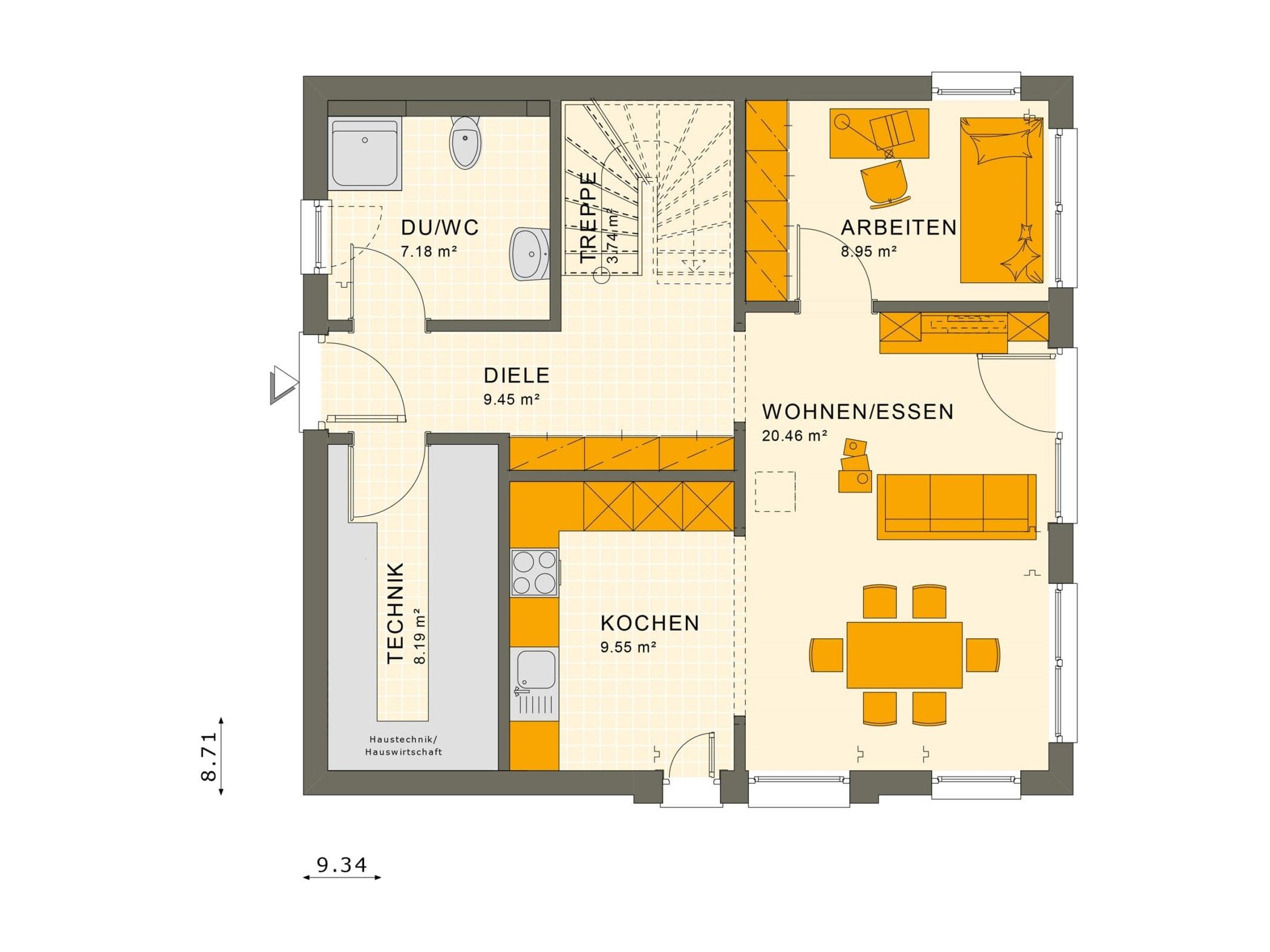 Grundriss Einfamilienhaus Erdgeschoss - Fertighaus Living Haus SUNSHINE 136 V2 - HausbauDirekt.de