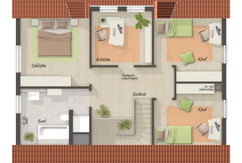 Grundriss Einfamilienhaus Obergeschoss mit Satteldach, 3 Kinderzimmer - Town Country Haus Massivhaus Landhaus 142 - HausbauDirekt.de