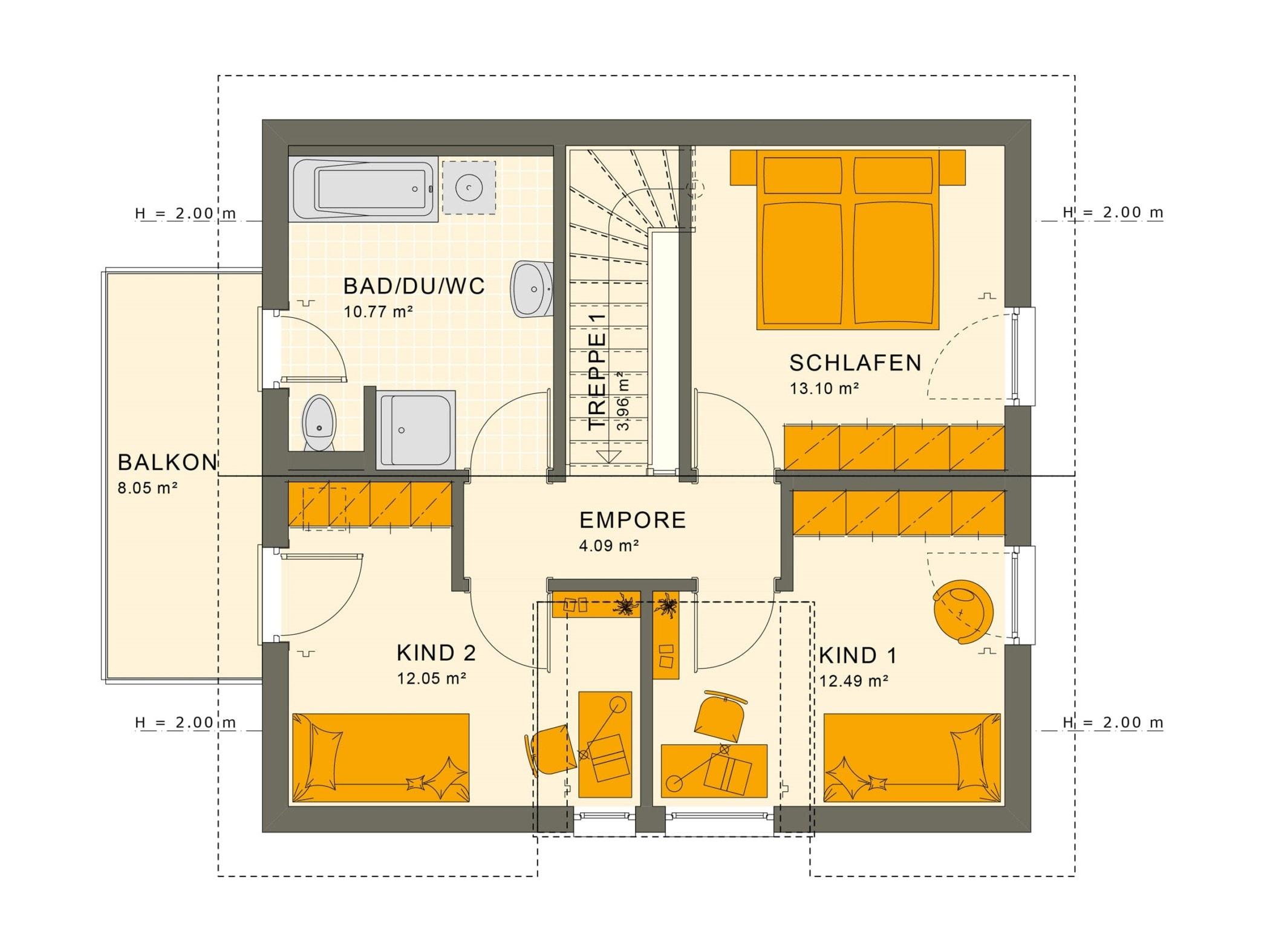 Grundriss Einfamilienhaus Obergeschoss mit Satteldach Architektur, Zwerchgiebel & Balkon, 114 qm, 5 Zimmer - Haus bauen Ideen Fertighaus SUNSHINE 113 V4 von Living Haus - HausbauDirekt.de