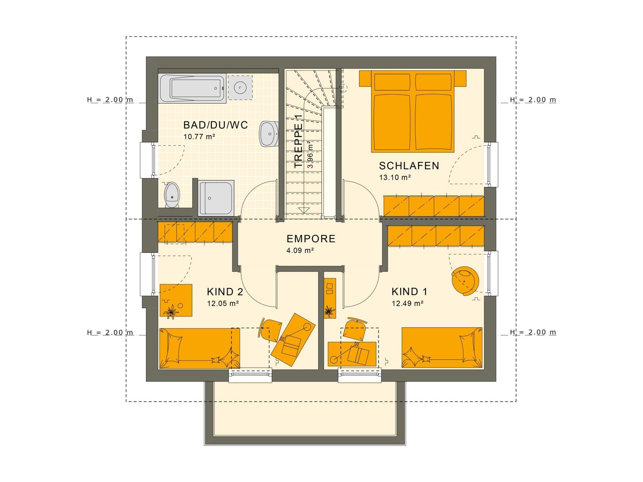 Grundriss Einfamilienhaus Obergeschoss quadratisch mit Satteldach Architektur - Haus bauen Ideen Fertighaus SUNSHINE 113 V5 von Living Haus - HausbauDirekt.de