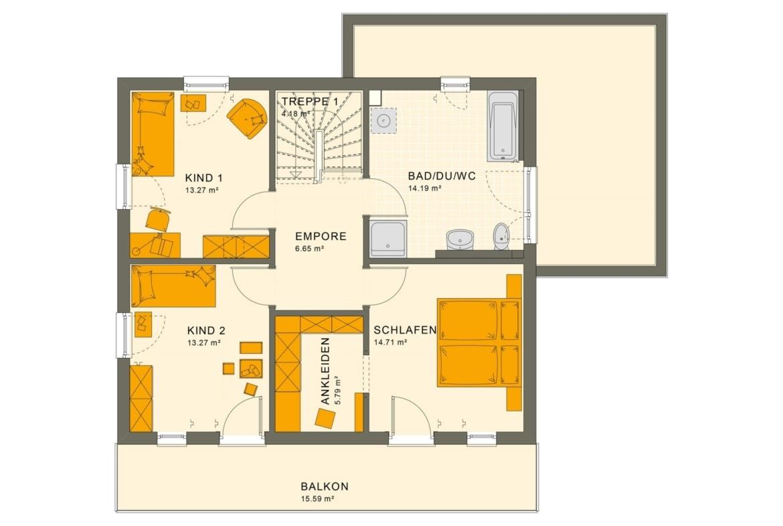 Grundriss Einfamilienhaus Obergeschoss mit Flachdach & Balkon, 5 Zimmer, 145 qm - Fertighaus bauen Ideen Living Haus SUNSHINE 143 V7 - HausbauDirekt.de