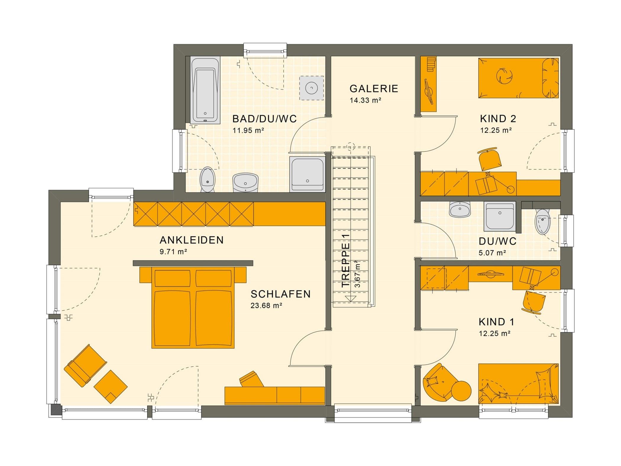 Grundriss Einfamilienhaus Obergeschoss Treppe gerade mit Galerie & Flachdach, 5 Zimmer, 154 qm - Living Haus Fertighaus SUNSHINE 154 V7 - HausbauDirekt.de