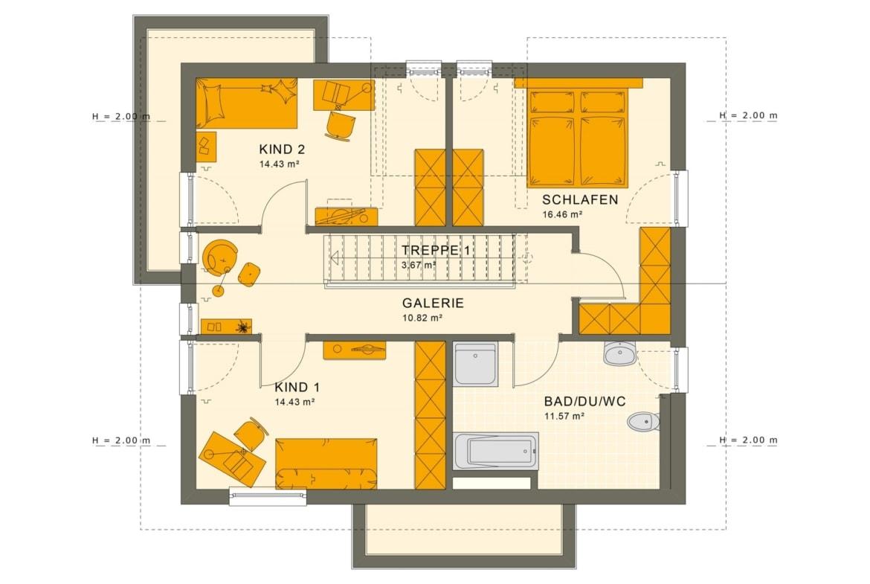Grundriss Einfamilienhaus Obergeschoss mit Satteldach & Treppe gerade mit Galerie, 5 Zimmer Grundriss, 140 qm - Living Haus Fertighaus SUNSHINE 144 V4 - HausbauDirekt.de