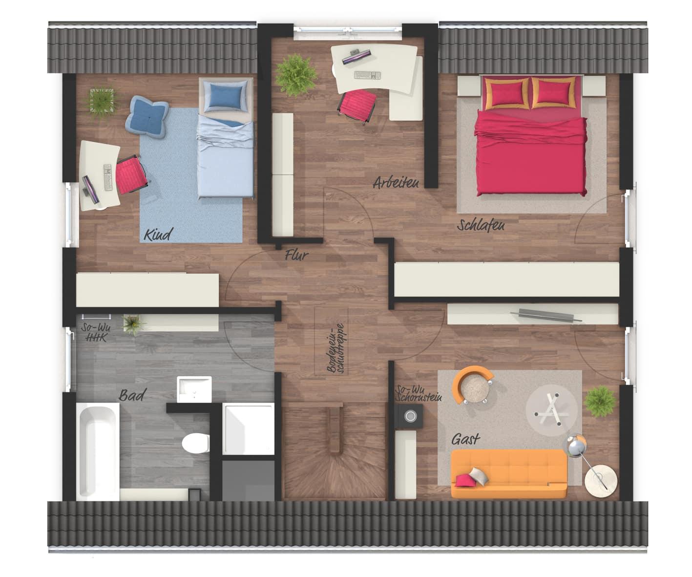 Grundriss Einfamilienhaus Obergeschoss mit Satteldach & Zwerchgiebel, 120 qm, 4 Zimmer - Massivhaus schlüsselfertig bauen Ideen Lichthaus 121 Style von Town Country Haus - HausbauDirekt.de