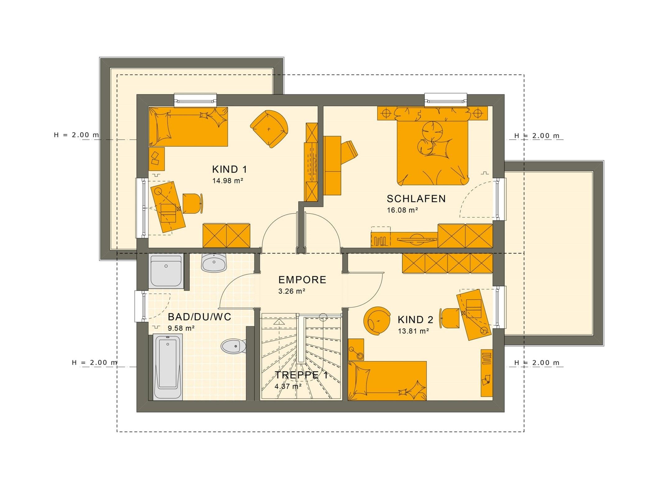 Grundriss Einfamilienhaus Obergeschoss mit Satteldach - Fertighaus Living Haus SUNSHINE 125 V5 - HausbauDirekt.de