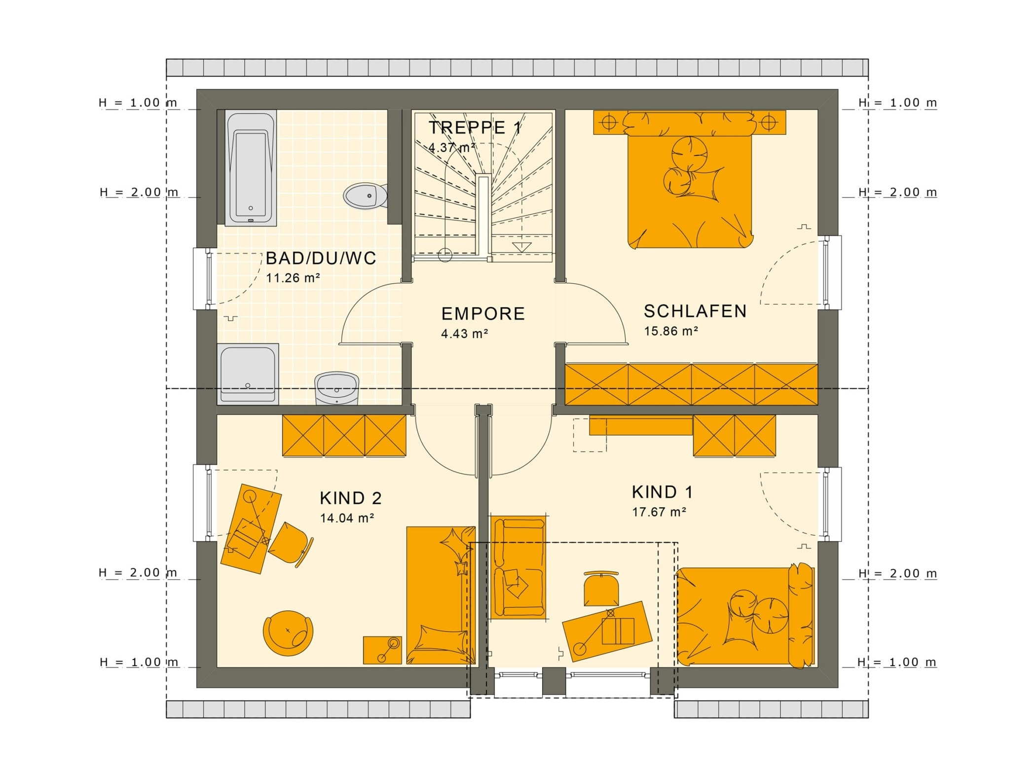 Grundriss Einfamilienhaus Obergeschoss mit Satteldach & Zwerchgiebel - Fertighaus Living Haus SUNSHINE 136 V2 - HausbauDirekt.de