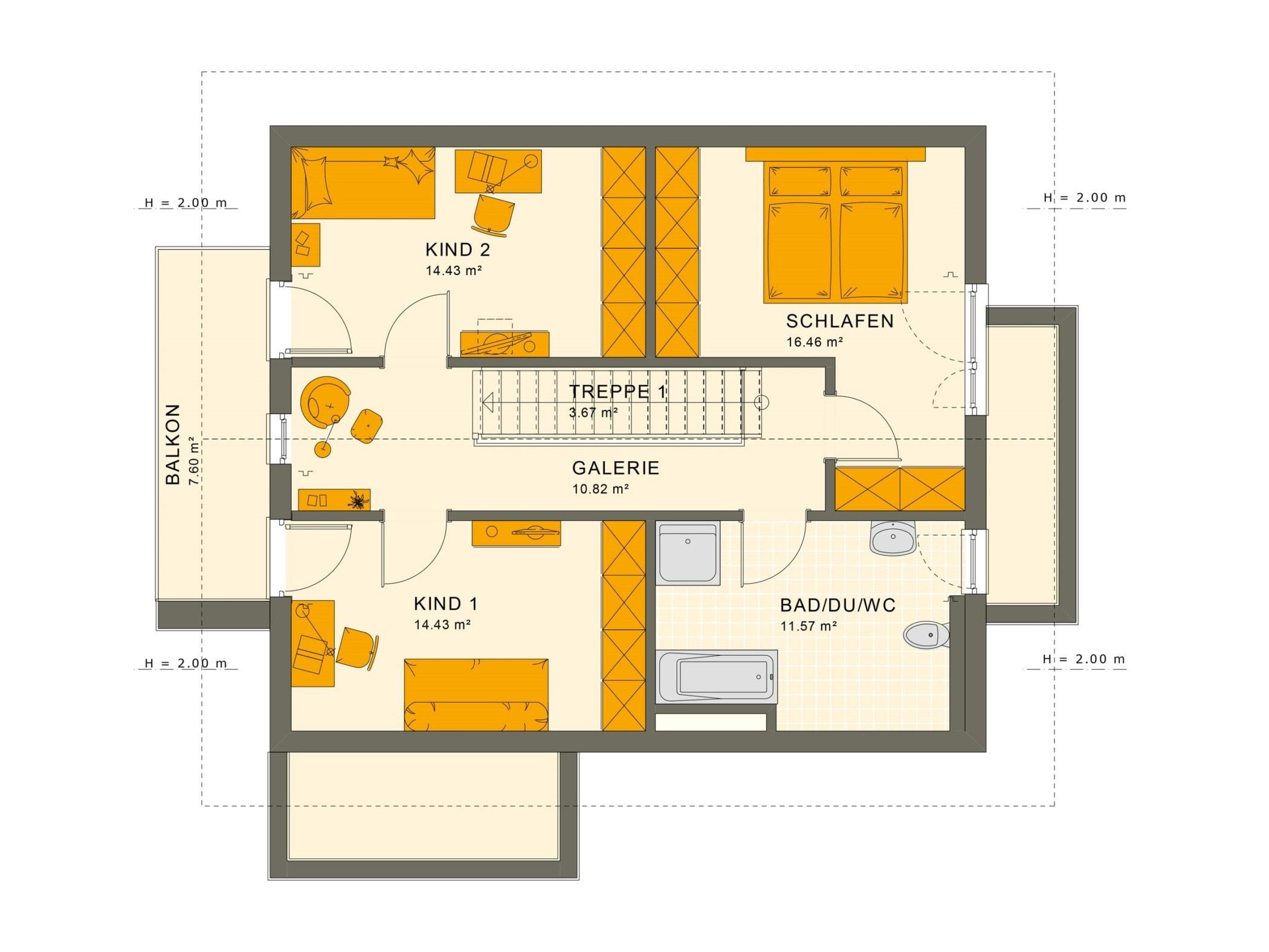 Grundriss Einfamilienhaus Obergeschoss Treppe mit Galerie, Balkon & Satteldach - Fertighaus SUNSHINE 144 V5 von Living Haus - HausbauDirekt.de