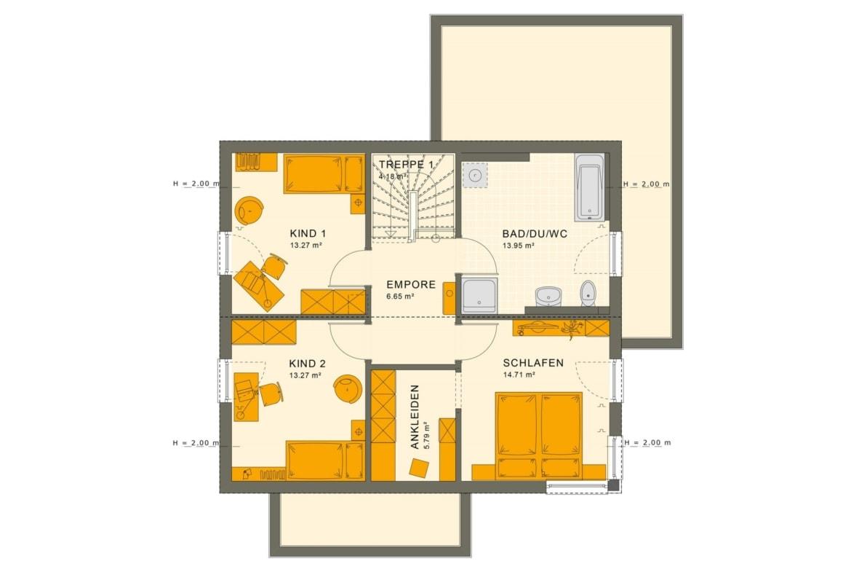 Einfamilienhaus Grundriss Obergeschoss mit Satteldach, 5 Zimmer, 145 qm - Living Haus Fertighaus SUNSHINE 143 V5 - HausbauDirekt.de