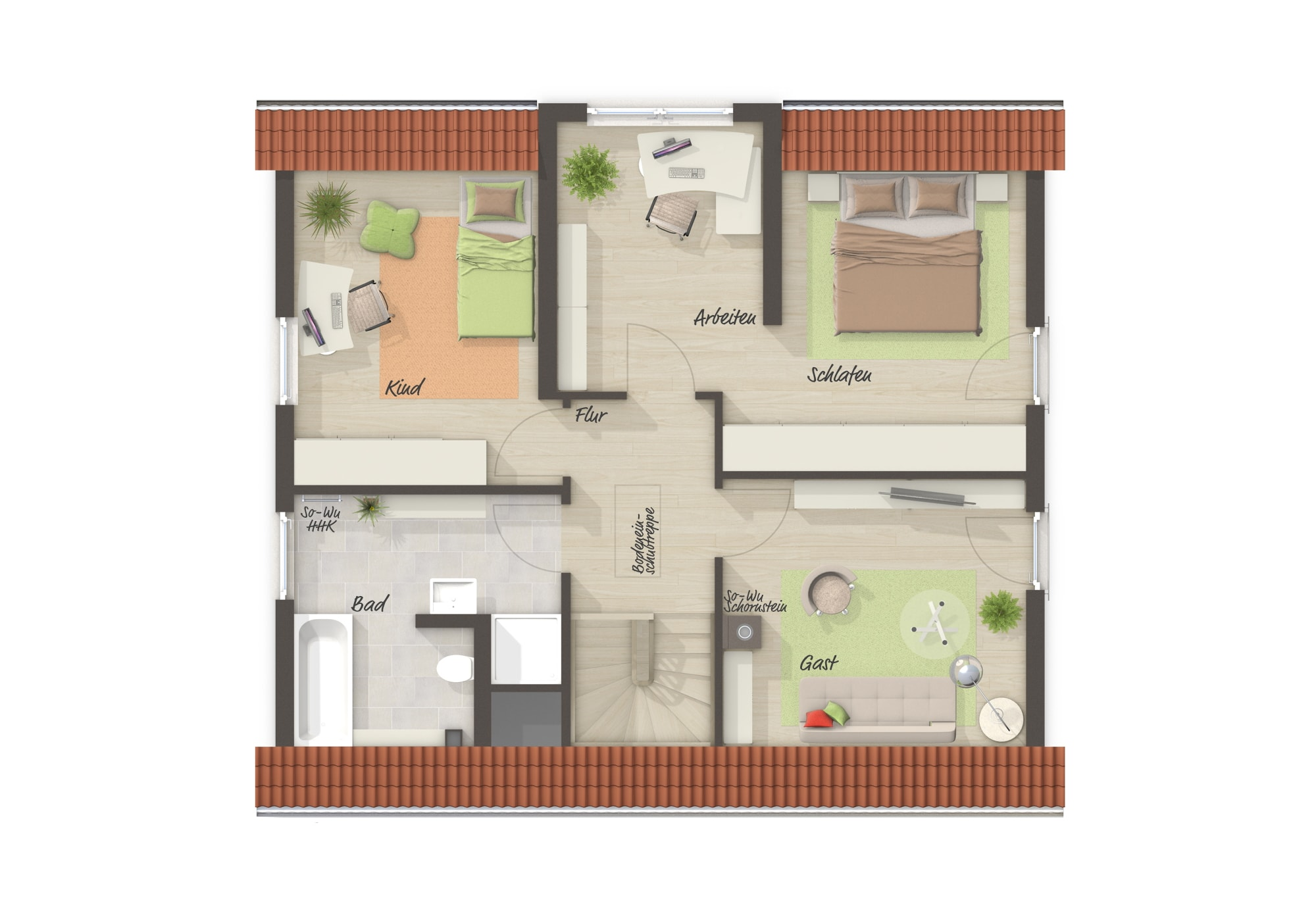 Einfamilienhaus Grundriss Obergeschoss mit Satteldach, 4 Zimmer, 120 qm - Massivhaus bauen Ideen Town Country Haus Lichthaus 121 Trend - HausbauDirekt.de