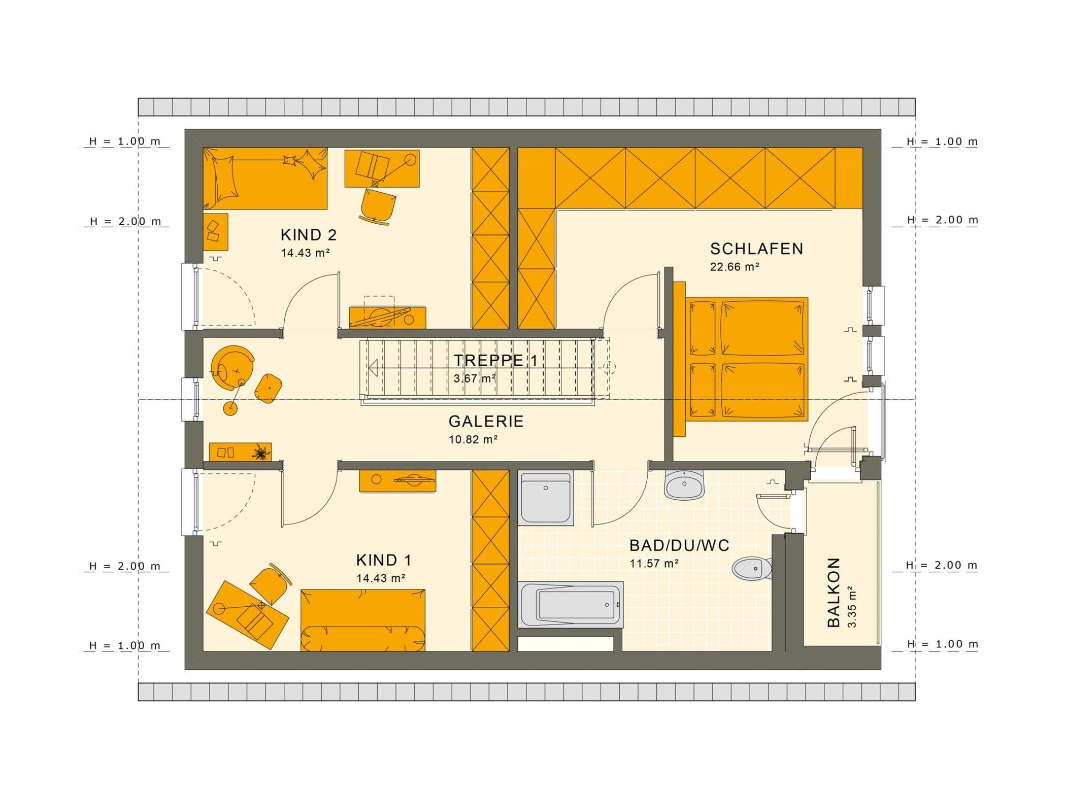 Grundriss Einfamilienhaus Obergeschoss gerade Treppe & Satteldach, 5 Zimmer, 140 qm - Fertighaus Living Haus SUNSHINE 144 V2 - HausbauDirekt.de