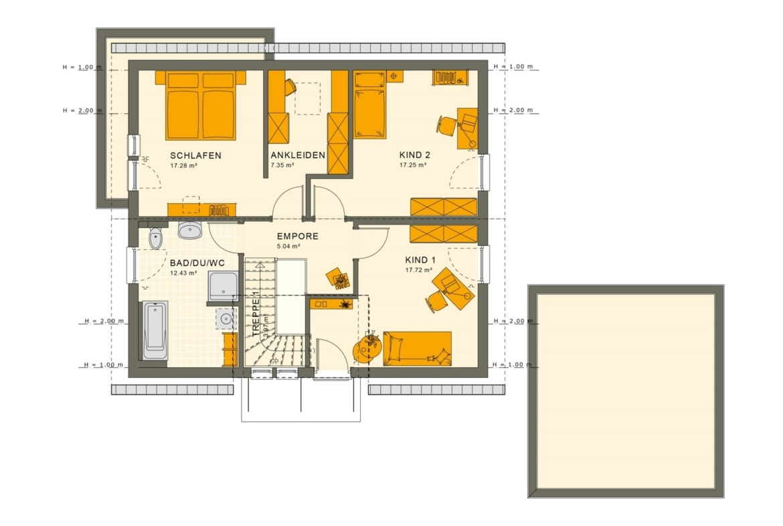 Fertighaus Grundriss Obergeschoss mit Satteldach, 5 Zimmer, 165 qm - Living Haus SUNSHINE 165 V2 - HausbauDirekt.de