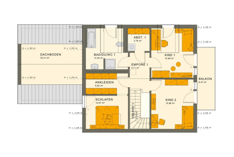 Grundriss Einfamilienhaus mit Einliegerwohnung Obergeschoss, 7 Zimmer, 180 qm - Fertighaus schlüsselfertig bauen Ideen Living Haus SOLUTION 183 V2 - HausbauDirekt.de