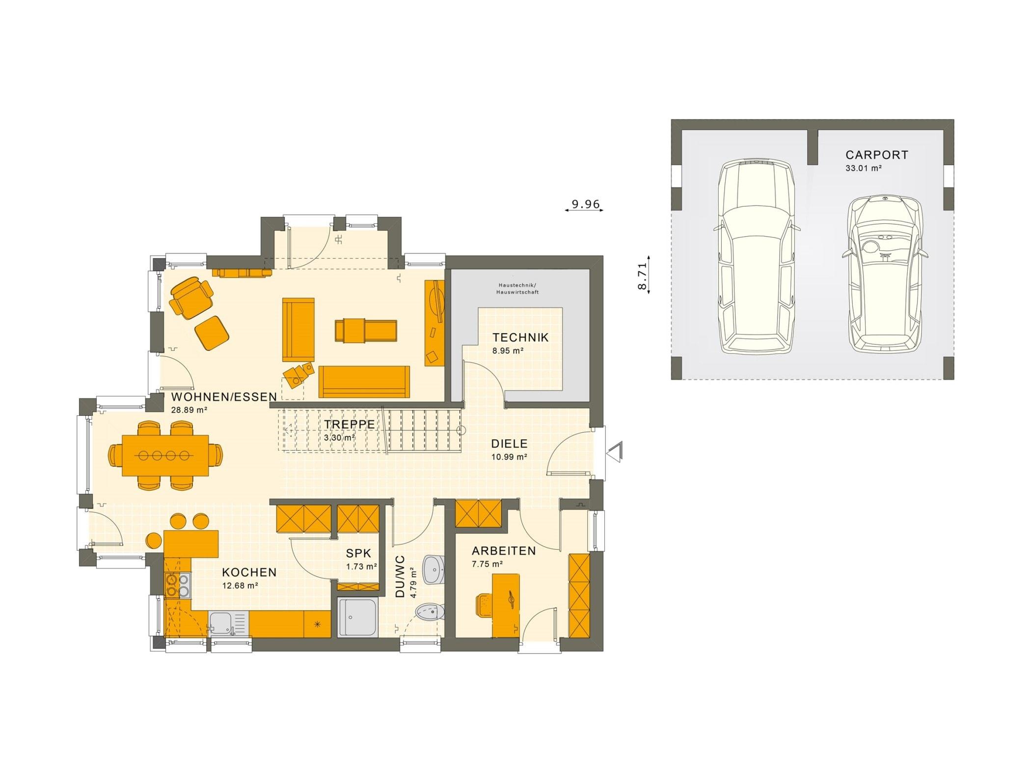 Grundriss Einfamilienhaus Erdgeschoss Treppe gerade & Doppelcarport - Fertighaus Living Haus SUNSHINE 144 V3 - HausbauDirekt.de