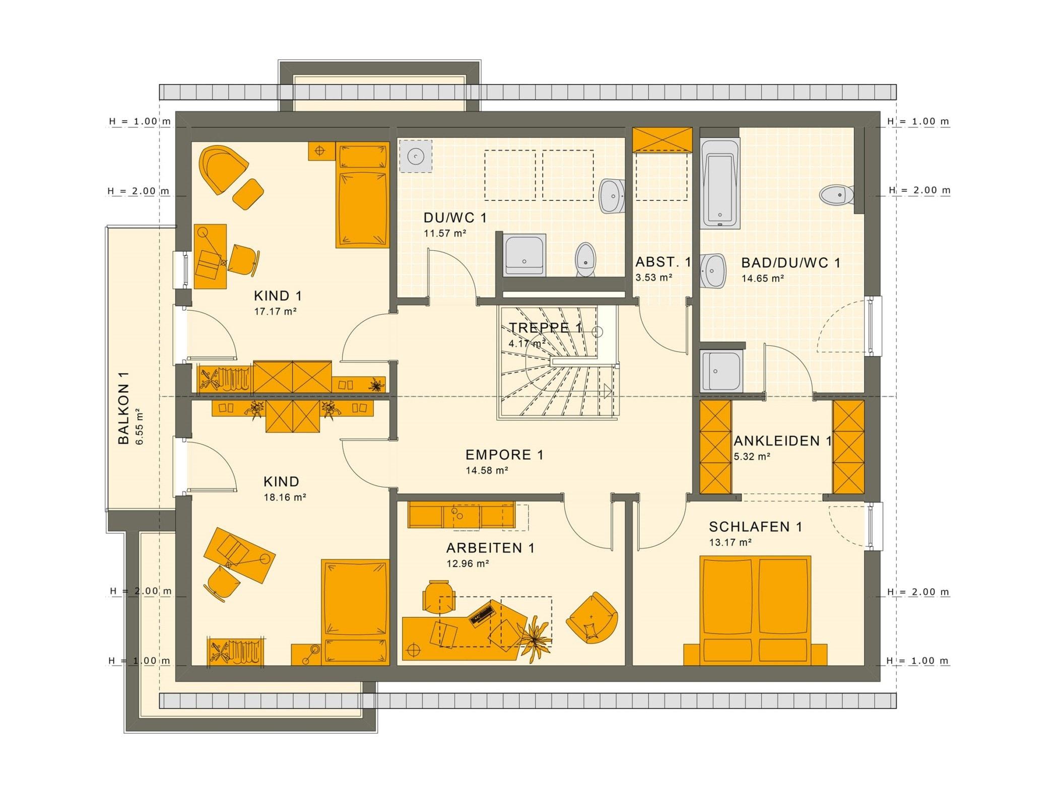 Einfamilienhaus mit Einliegerwohnung Grundriss Dachgeschoss - Haus bauen Ideen Fertighaus SOLUTION 230 V3 von Living Haus - HausbauDirekt.de
