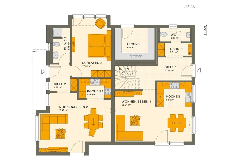 Einfamilienhaus mit Einliegerwohnung Grundriss Erdgeschoss - Haus bauen Ideen Fertighaus SOLUTION 230 V3 von Living Haus - HausbauDirekt.de