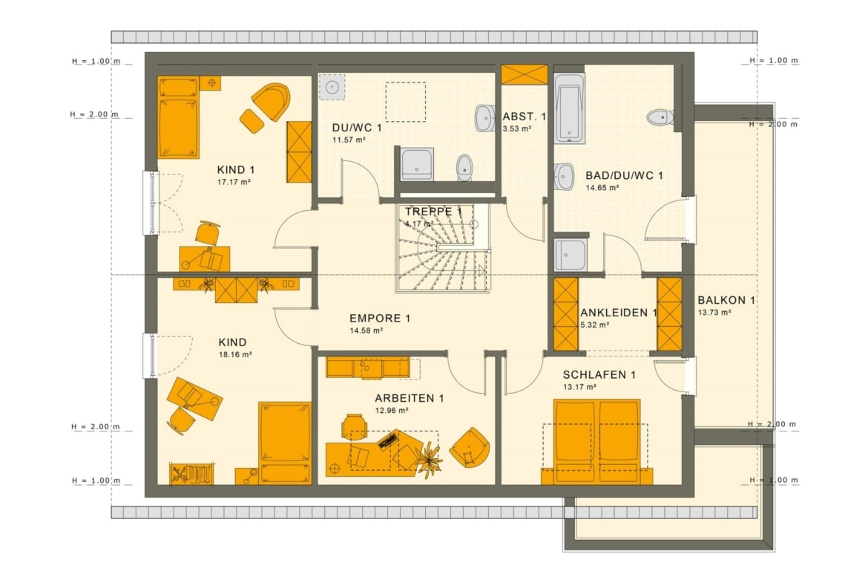 Grundriss Einfamilienhaus mit Einliegerwohnung Dachgeschoss - Haus bauen Ideen Fertighaus SOLUTION 230 V2 von Living Haus - HausbauDirekt.de