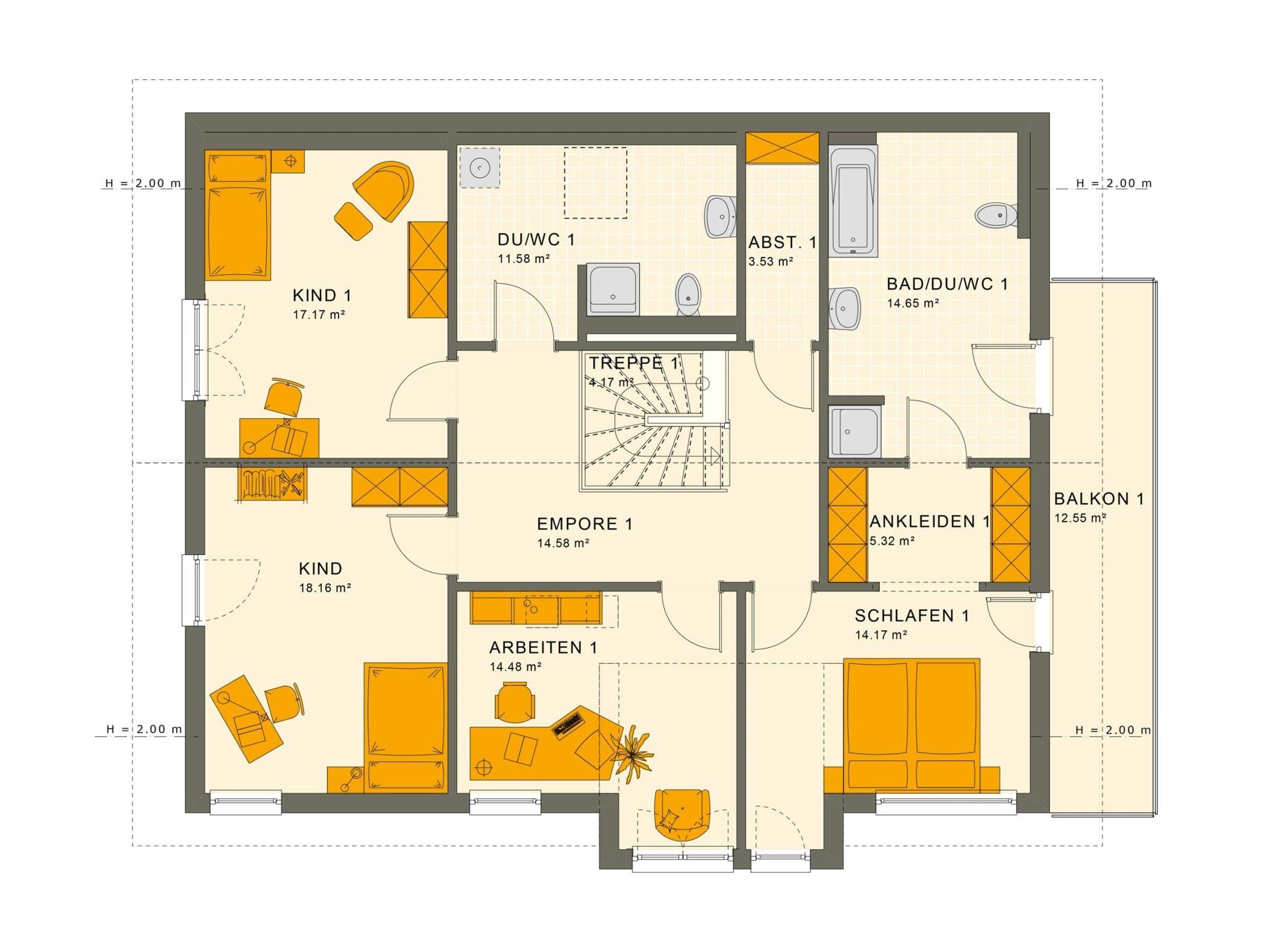 Einfamilienhaus mit Einliegerwohnung Grundriss Dachgeschoss - Haus bauen Ideen Fertighaus SOLUTION 230 V4 von Living Haus - HausbauDirekt.de