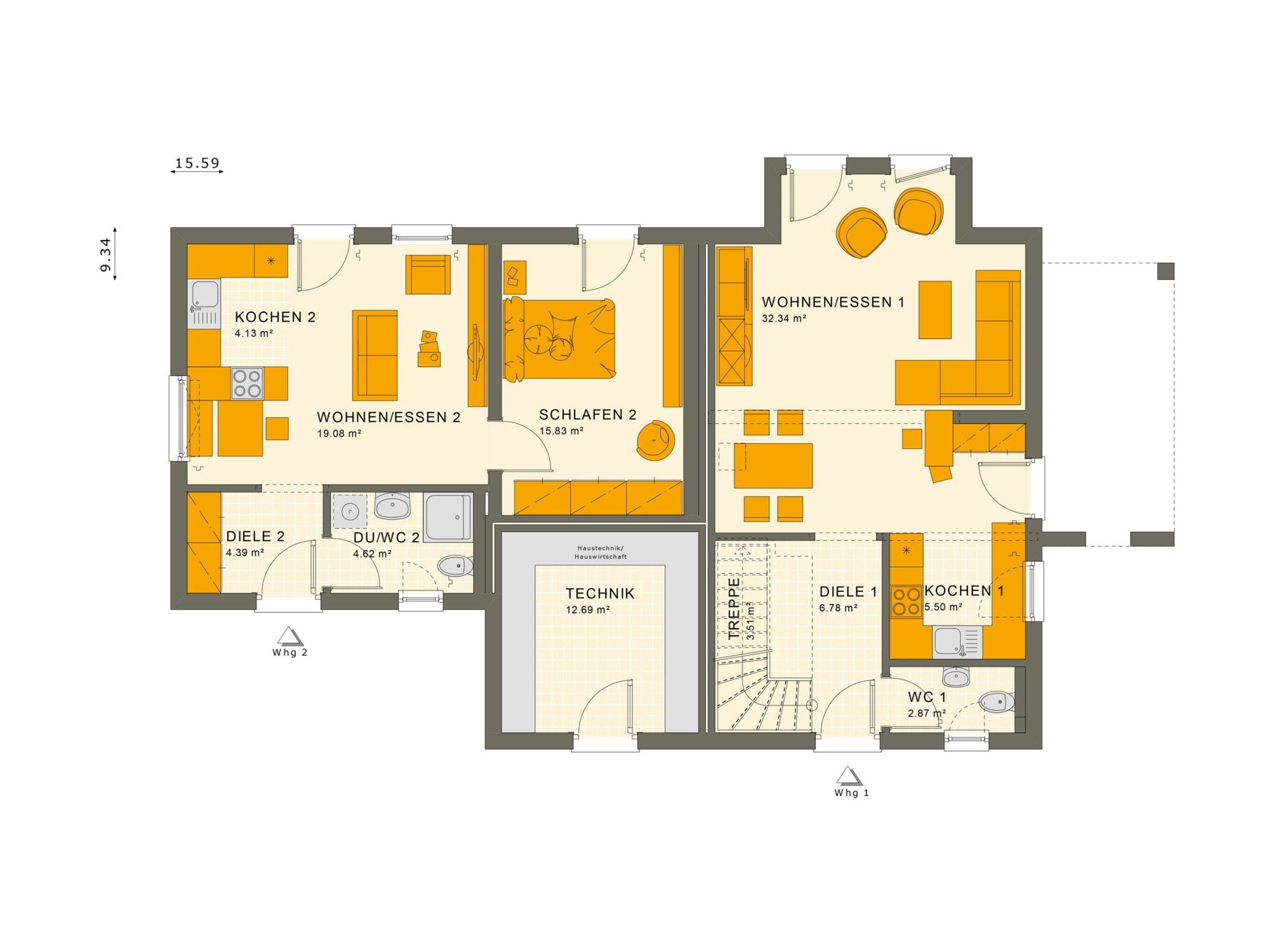 Grundriss Einfamilienhaus mit Einliegerwohnung Erdgeschoss, 7 Zimmer, 180 qm - Fertighaus schlüsselfertig bauen Ideen Living Haus SOLUTION 183 V4 - HausbauDirekt.de