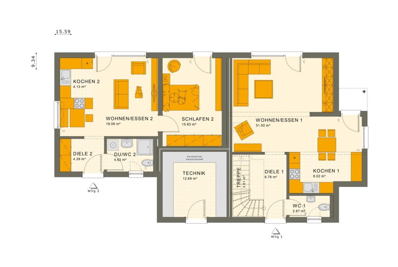 Grundriss Einfamilienhaus mit Einliegerwohnung Erdgeschoss, 7 Zimmer, 180 qm - Fertighaus schlüsselfertig bauen Ideen Living Haus SOLUTION 183 V2 - HausbauDirekt.de