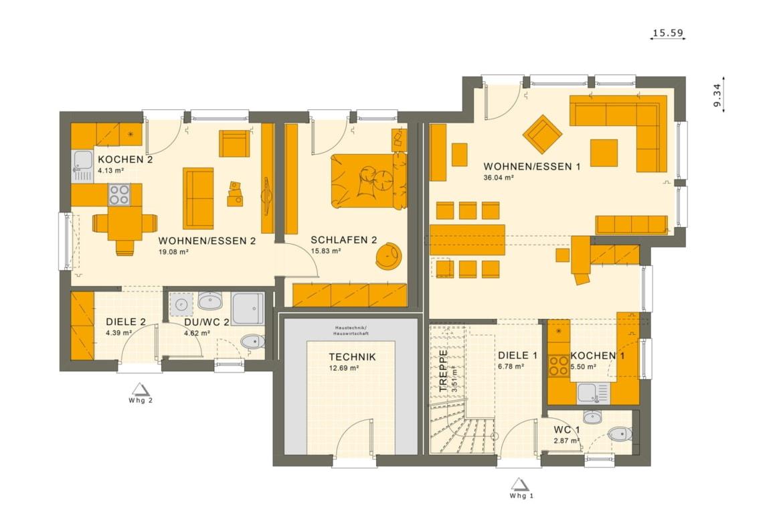 Grundriss Einfamilienhaus mit Einliegerwohnung im Erdgeschoss, 6 Zimmer, 180 qm - Fertighaus bauen Ideen Living Haus SOLUTION 183 V3 - HausbauDirekt.de